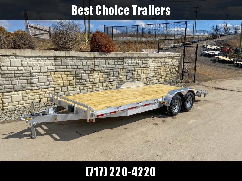 "2020 QSA 7x20' Aluminum Car Trailer 9850# GVW * REMOVABLE FENDERS * LOTS OF TIE DOWNS * PUNCH PLATE RAMPS * SPARE MOUNT * WEIGHT DIST. BRACKETS * 14"" O.C. C/M"