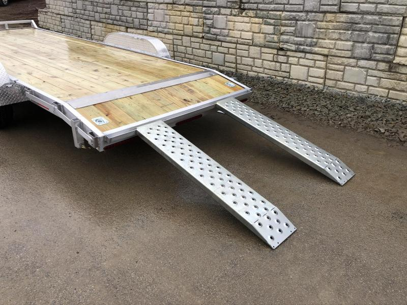 """2020 QSA 7x20' Aluminum Car Trailer 9850# GVW * REMOVABLE FENDERS * LOTS OF TIE DOWNS * PUNCH PLATE RAMPS * SPARE MOUNT * WEIGHT DIST. BRACKETS * 14"""" O.C. C/M"""