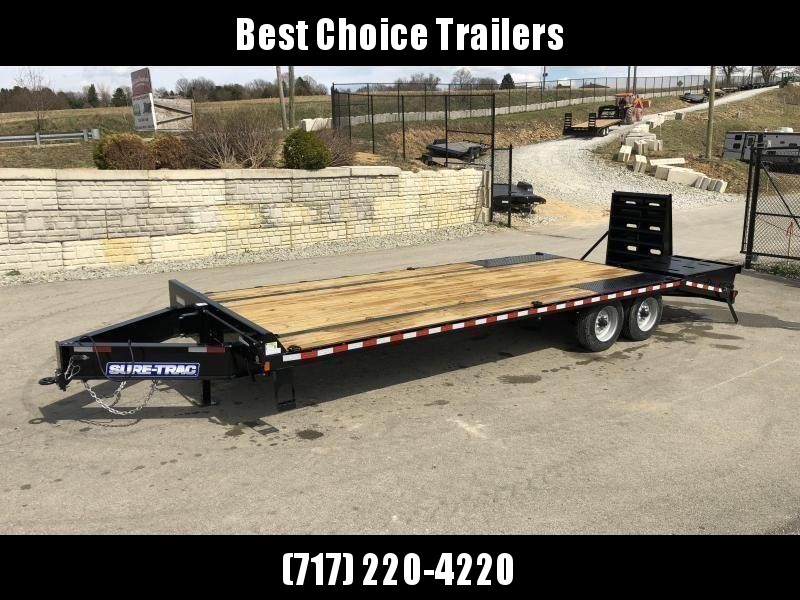 "2020 Sure-Trac 102x25' HD Beavertail Deckover Trailer 22500# GVW * FULL WIDTH RAMPS (STAND UP OR FLIPOVER) * DEXTER AXLES * 12"" I-BEAM * PIERCED FRAME * RUBRAIL/STAKE POCKETS/PIPE SPOOLS/10 D-RINGS * CROSS TRAC BRACING * HD BEAVERTAIL"