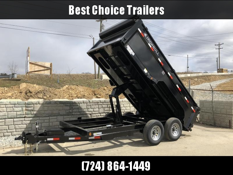 NEW Ironbull 7x14' 3' HIGH SIDES Dump Trailer 14000# GVW RAMPS * TARP * SCISSOR * 2ND TOOLBOX * SPARE MT * CLEARANCE