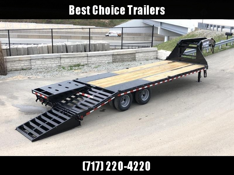 "2020 Sure-Trac 102x25' Gooseneck Beavertail Deckover Trailer 22500# GVW * FULL WIDTH RAMPS (STAND UP OR FLIPOVER) * DEXTER AXLES * 12"" I-BEAM * PIERCED FRAME * RUBRAIL/STAKE POCKETS/PIPE SPOOLS/10 D-RINGS * CROSS TRAC BRACING * HD BEAVERTAIL"