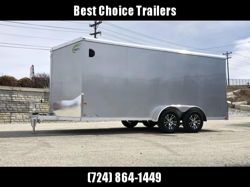 """2020 Neo 7x16 NAVR Aluminum Enclosed Cargo Trailer * RAMP DOOR * ALUMINUM WHEELS * 16"""" O.C. FLOOR * PLASTIC VENTS"""