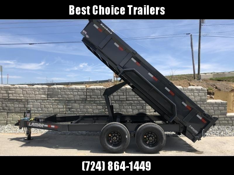 "2020 Lamar 7x12' Dump Trailer 14000# GVW * 7GA FLOOR * TARP KIT * UNDERMOUNT RAMPS * SCISSOR HOIST * 12K JACK * CHARCOAL WITH BLACK WHEELS * RIGID RAILS * HD COUPLER * NESTLED I-BEAM FRAME 28"" H * 3-WAY GATE * 12"" O.C. C/M * SPARE MOUNT"