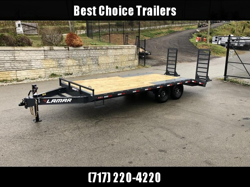 "2020 Lamar 102x22' Beavertail Deckover Trailer 14000# GVW * STAND UP RAMPS + SPRING ASSIST  * CHARCOAL * TOOL TRAY * HD COUPLER * I-BEAM FRAME * 16"" O.C. C/M * RUBRAIL/STAKE POCKETS/PIPE SPOOLS * CHANNEL SIDE RAIL * 4X8"" TUBE BUMPER"