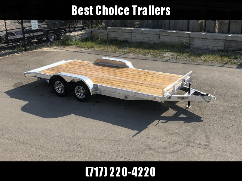 "2020 H&H 7x18' Aluminum Car Hauler Trailer 7000# GVW * HEAVY DUTY 6"" TONGUE/FRAME * EXTRUDED BEAVERTAIL * SET BACK JACK * ALUMINUM WHEELS * REMOVABLE FENDERS * CHANNEL C/M * RUBRAIL"
