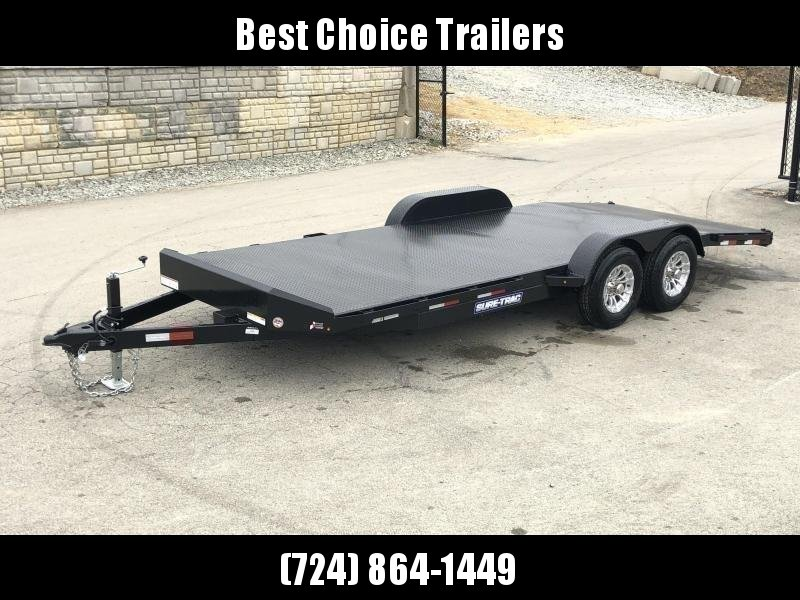 """2020 Sure-Trac 7x18' Steel Deck Car Hauler 9900# GVW * 4' BEAVERTAIL * LOW LOAD ANGLE * ALUMINUM WHEELS * 5"""" TUBE TONGUE/FRAME * AIR DAM * RUBRAIL/STAKE POCKETS/D-RINGS * REMOVABLE FENDER * FULL SEAMS WELDS * REAR SLIDEOUT PUNCH PLATE RAMPS"""