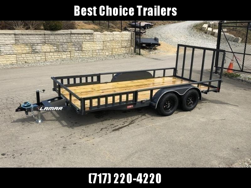"2020 Lamar 7x16' ATV Utility Trailer 7000# GVW * ATV SIDE RAMPS * 7' WIDTH * CHARCOAL * PIPE TOP RAIL * ADJUSTABLE COUPLER * DROP LEG JACK * 2x2"" TUBE GATE W/ SPRING ASSIST"