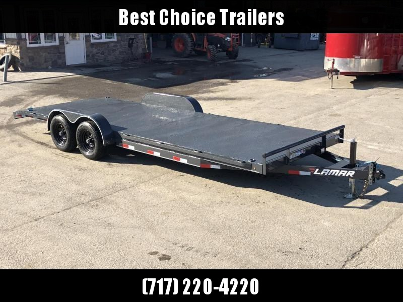 2019 Lamar 7x22' CC10 Car Trailer 9990# GVW * RUBRAIL * REMOVABLE FENDERS  * CHARCOAL POWDERCOATING * 7K DROP LEG JACK * STEEL DECK * CLEARANCE