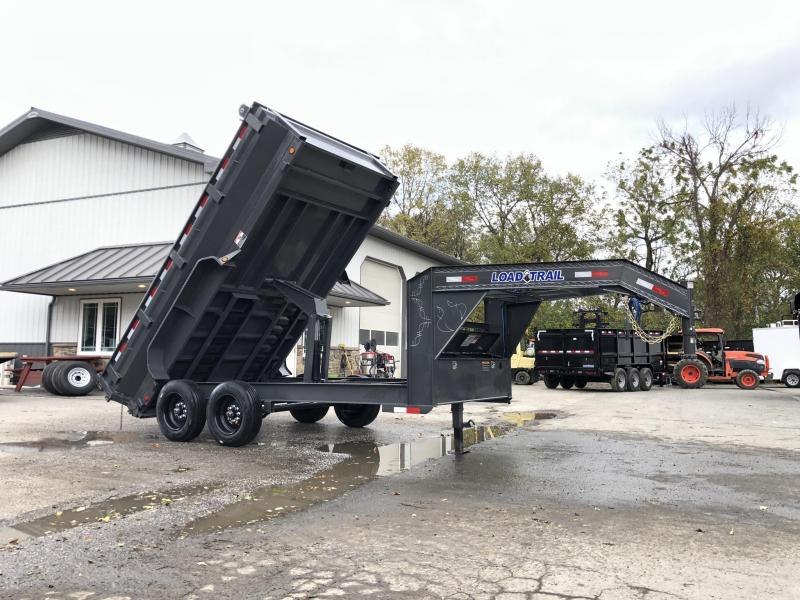 "2020 Load Trail 7x14' Gooseneck Dump Trailer 16000# GVW * GD8314082 * DEXTER 8000# AXLES * MAX FLARED BED * 17.5"" TIRE UPGRADE * CHARCOAL * 8"" I-BEAM FRAME * OIL BATH * SOLAR CHARGER * 3-WAY GATE * TARP KIT * SCISSOR HOIST * 10GA 2PC SIDES & FLOOR * 6"" TU"