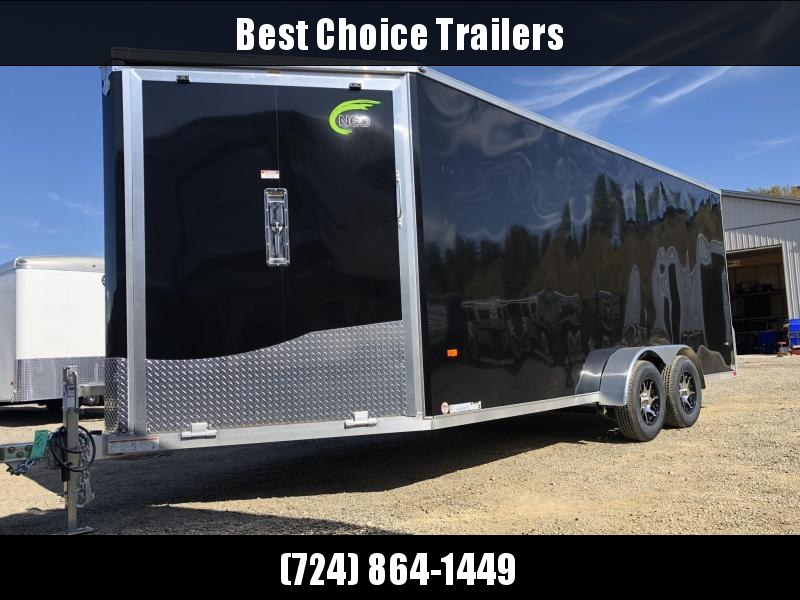 "2020 Neo 7x22' NASF Aluminum Enclosed All-Sport Trailer 7000# GVW * 7' HEIGHT UTV PKG * BLACK EXTERIOR * FRONT/REAR NXP RAMP * VINYL WALLS * SPORT TIE DOWN SYSTEM * 16"" O.C. FLOOR * PRO STAB JACKS * UPPER CABINET * ALUMINUM WHEELS * SCREWLESS * 1 PC ROOF"