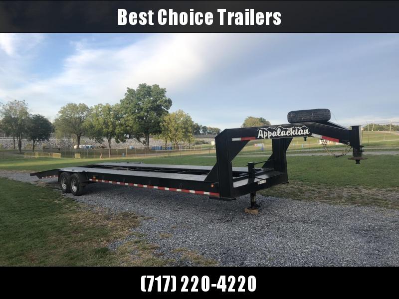USED 2019 Appalachian 36' 2-Car Gooseneck Car Hauler Trailer * SPARE * 12000# WINCH * STEEL FLOOR * TOOLBOX