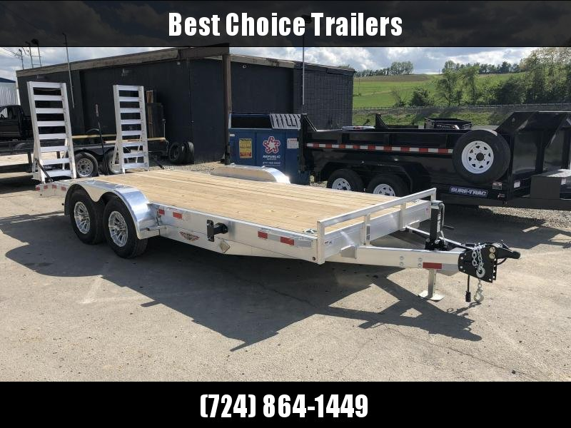 2020 H&H HAD 7x18 ALUMINUM Equipment Trailer 9990# GVW * ALUMINUM RAMPS * 4 SWIVEL D-RINGS * EXTRA STAKE POCKETS * SPARE TIRE MOUNT * ADJUSTABLE COUPLER