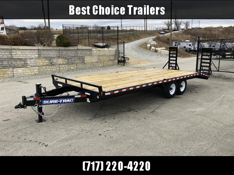 """2019 Sure Trac 20+4' Beavertail Deckover Trailer 15000# * ST102204SDDO-B-150 * 4"""" CHANNEL STAND UP RAMPS * CLEARANCE"""