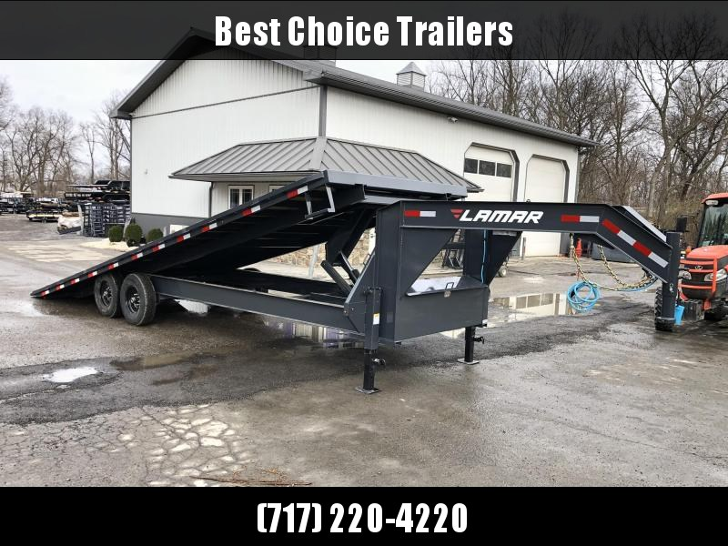 "2020 Lamar 102x26' Gooseneck Deckover Power Tilt Trailer 14000# GVW * SCISSOR HOIST UPGRADE * SPARE TIRE * SIDE TOOLBOX+FRONT TOOLBOX * CHARCOAL POWDERCOAT * 10"" I-BEAM FRAME+NECK * 6"" CHANNEL BED RUNNER * WINCH PLATE * DUAL JACKS"