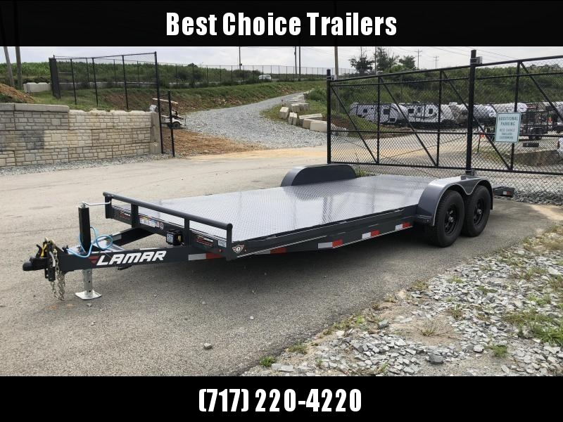 2019 Lamar 7X20' CC10 Car Trailer 9990# GVW * RUBRAIL * REMOVABLE FENDERS  * CHARCOAL POWDERCOATING * 7K DROP LEG JACK * STEEL DECK * CLEARANCE
