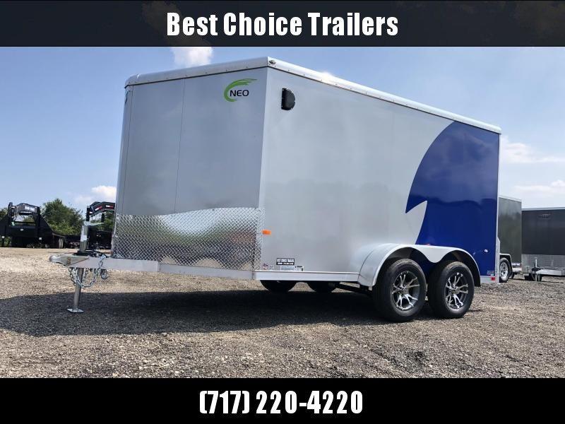 "2020 NEO Trailers 7X14' NAMR Aluminum Enclosed Motorcycle Trailer * NEW BLUE & SILVER * VINYL WALLS * ALUMINUM WHEELS * +6"" HEIGHT * NUDO FLOOR & RAMP"