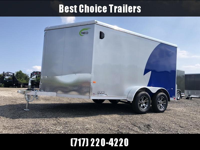 "2020 NEO Trailers 7X14' NAMR Aluminum Enclosed Motorcycle Trailer * NEW BLUE & SILVER * VINYL WALLS * ALUMINUM WHEELS * +6"" HEIGHT * NUDO FLOOR & RAMP"
