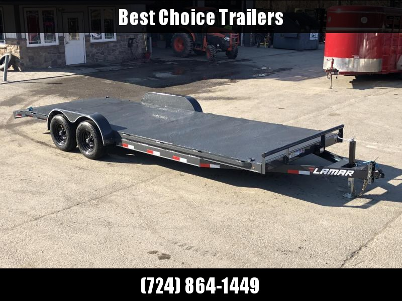 2019 Lamar 7x22' Car Hauler Trailer 9990# GVW * 11GA STEEL DECK * CHARCOAL POWDERCOATING * 7K DROP LEG JACK * CHANNEL C/M * ADJUSTABLE COUPLER * RUBRAIL * CLEARANCE