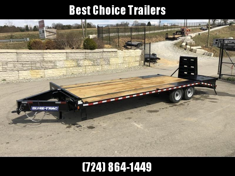 "2020 Sure-Trac 102x25+5' LowPro Beavertail Deckover Trailer 17600# GVW * 8000# AXLES * DUAL JACKS * PIERCED FRAME * FULL WIDTH RAMPS * 12"" I-BEAM"