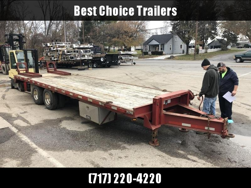 USED Corn Pro 102x25' Adjustable Dovetail Deckover Trailer 24000# GVW * DEXTER 12K AXLES * ADJUSTABLE DOVETAIL * ALUMINUM TOOLBOX * WHEEL SIMULATORS * BULLDOG 2-SPEED DUAL JACKS * I-BEAM FRAME * TOOL TRAY