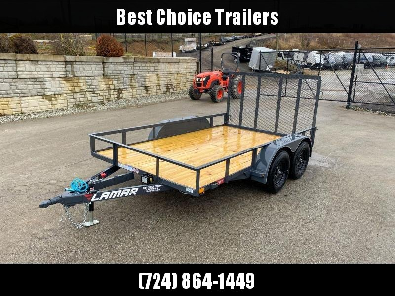 "2020 Lamar 7x12' Utility Landscape Trailer 7000# GVW * CHARCOAL * HD GATE/2X2"" TUBE C/M + SPRING ASSIST * CAST COUPLER * COLD WEATHER HARNESS * 4"" CHANNEL TONGUE * STAKE POCKETS * SWIVEL JACK * TUBE BUMPER * TEARDROP FENDERS * BULLET LED'S"
