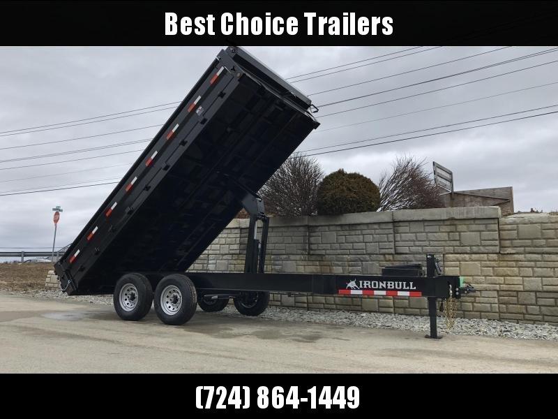 """2019 Ironbull 8x14' Deckover Dump Trailer 14000# GVW * TARP KIT * 10"""" I-BEAM FRAME * BED RUNNERS * FOLD DOWN SIDES * OVERSIZE 5x20 SCISSOR * 12K JACK * CLEARANCE"""