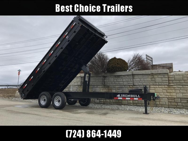 """2019 Ironbull 8x14' Deckover Dump Trailer 14000# GVW * TARP KIT * 10"""" I-BEAM FRAME * BED RUNNERS * FOLD DOWN SIDES * OVERSIZE 5x20 SCISSOR * 12K JACK"""