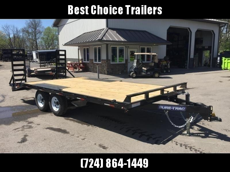 2020 Sure-Trac 102x18 Beavertail Deckover Trailer 9900# GVW * STAND UP RAMPS + SPRING ASSIST * TUBE SIDE RAIL + CROSSMEMBERS * RUBRAIL/STAKE POCKETS/D-RINGS * SPARE MOUNT * ADJUSTABLE COUPLER * DROP LEG JACK