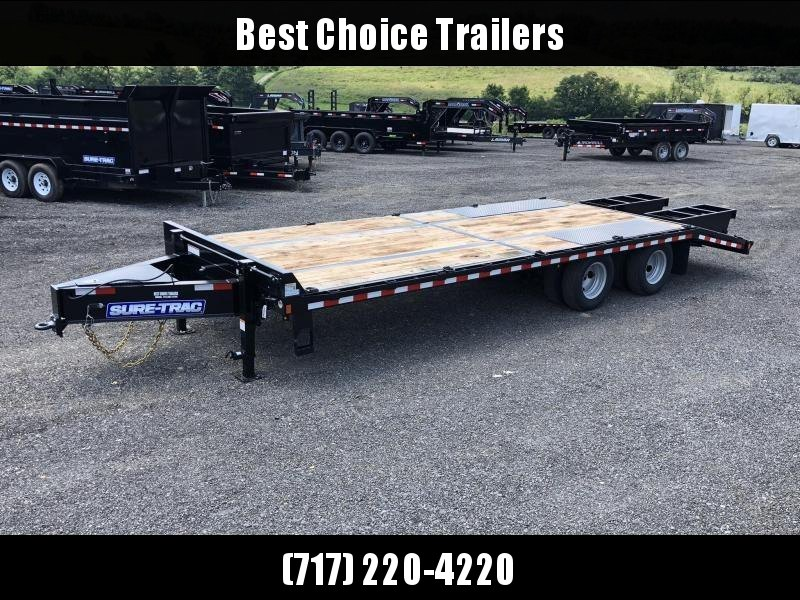 2019 Sure-Trac 102x20+5 Pintle Beavertail Deckover Trailer 22500# GVW * Pierced Frame OAK DECK & RAMPS PAVER TRAILER * HUTCH SUSPENSION * 12 D-RINGS * TOOLBOX * OAK RAMPS/TAIL/DECK * 2ND JACK