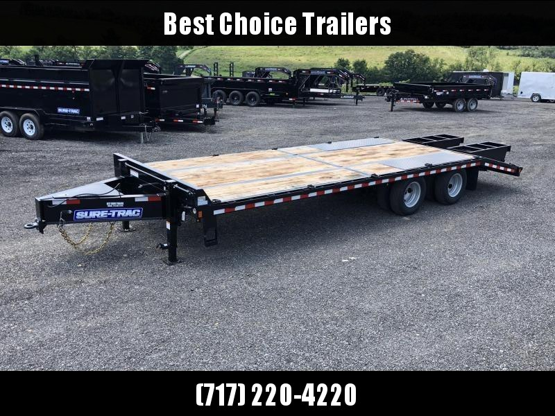 2019 Sure-Trac 102x20+5 Pintle Beavertail Deckover Trailer 22500# GVW * Pierced Frame OAK DECK & RAMPS PAVER TRAILER * HUTCH SUSPENSION * 12 D-RINGS * TOOLBOX * OAK RAMPS/TAIL/DECK * 2ND JACK * CLEARANCE