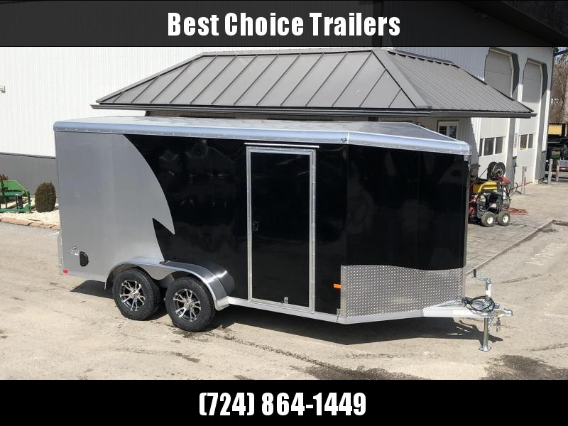 "2020 NEO Trailers 7x14' NAMR Aluminum Enclosed Motorcycle Trailer * BLACK+SILVER * VINYL WALLS * ALUMINUM WHEELS * +6"" HEIGHT * NUDO FLOOR+RAMP * CABINET * 2-TONE * INTEGRATED FRAME * TIE DOWN SYSTEM"