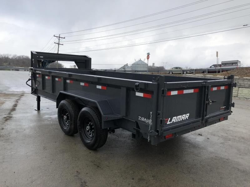 "2020 Lamar 7x14' Gooseneck Dump Trailer 14000# GVW * TARP KIT * SCISSOR * RAMPS * CHARCOAL * 14-PLY RUBBER * OIL BATH * 12"" O.C. CROSSMEMBERS * DUAL JACKS * REAR SUPPORT STANDS"