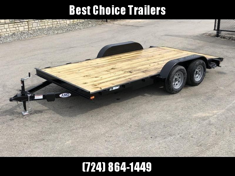 2019 AMO 7x16' Wood Deck Car Trailer 7000# GVW * LED TAIL LIGHTS * STACKED CHANNEL TONGUE/FRAME * BEAVERTAIL * REMOVABLE FENDERS * 2-AXLE BRAKES * CLEARANCE