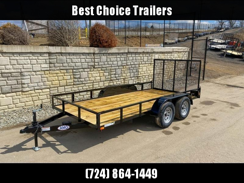 "2020 AMO 76x16' Angle Iron Utility Landscape Trailer 7000# GVW * 4"" CHANNEL TONGUE * RADIAL TIRES * TUBE GATE C/M * BRAKES ON BOTH AXLES * LED LIGHTS"