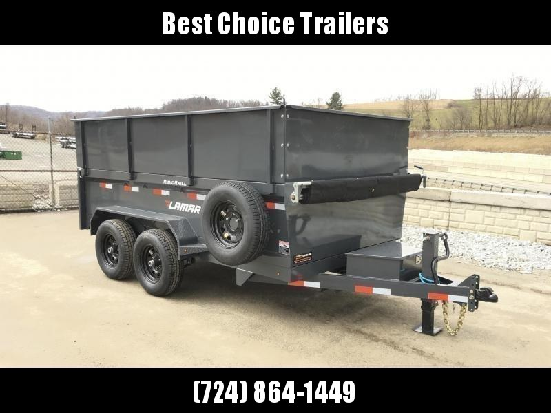 NEW Lamar DM10 77x12' 9990# Low Profile Dump Trailer 4' HIGH SIDES * 12K JACK * TARP KIT  * ADJUSTABLE COUPLER * CHARCOAL * SPARE TIRE & MOUNT * CLEARANCE