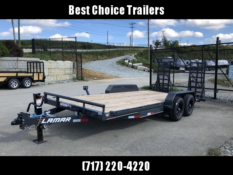 2020 Lamar 7x18' CC10 Equipment Trailer 9990# GVW - CHARCOAL * DELUXE RAMPS * 12K DROPLEG JACK