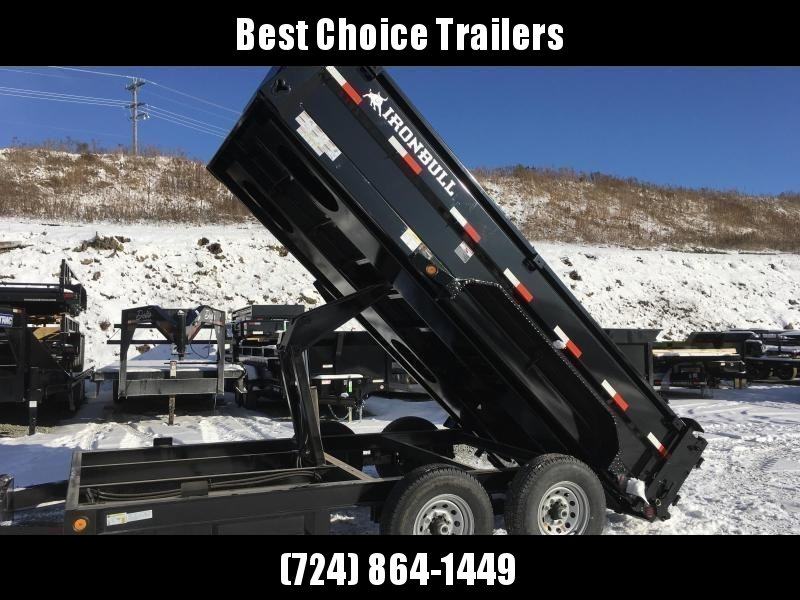 "2019 Ironbull 7x14' Dump Trailer 14000# GVW * RAMPS * TARP * SCISSOR * SPARE MOUNT * STACKED I-BEAM FRAME * 6"" BEDFRAME * 2PC 10GA BED & WALLS"