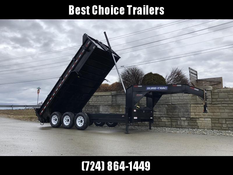 2020 Sure-Trac 7x16' 21000# Low Profile HD GOOSENECK Dump Trailer * TELESCOPIC HOIST * TRIPLE AXLE