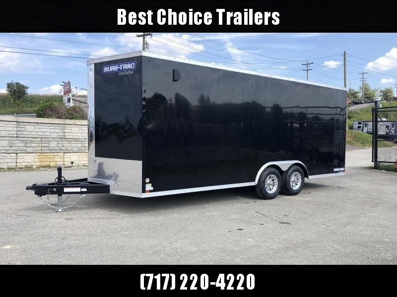 "2020 Sure-Trac 8.5x20' Enclosed Car Trailer 9900# GVW * BLACK * 7K DROP LEG JACK * SCREWLESS * 48"" DOOR * ALUMINUM WHEELS"