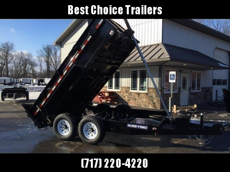 2020 Sure-Trac 7x12' Dump Trailer 12000# GVW * TELESCOPIC HOIST * FRONT/REAR BULKHEAD * INTEGRATED KEYWAY * 2' SIDES * UNDERBODY TOOL TRAY * ADJUSTABLE COUPLER * 110V CHARGER * UNDERMOUNT RAMPS * COMBO GATE * 7K DROP LEG JACK * SPARE MOUNT