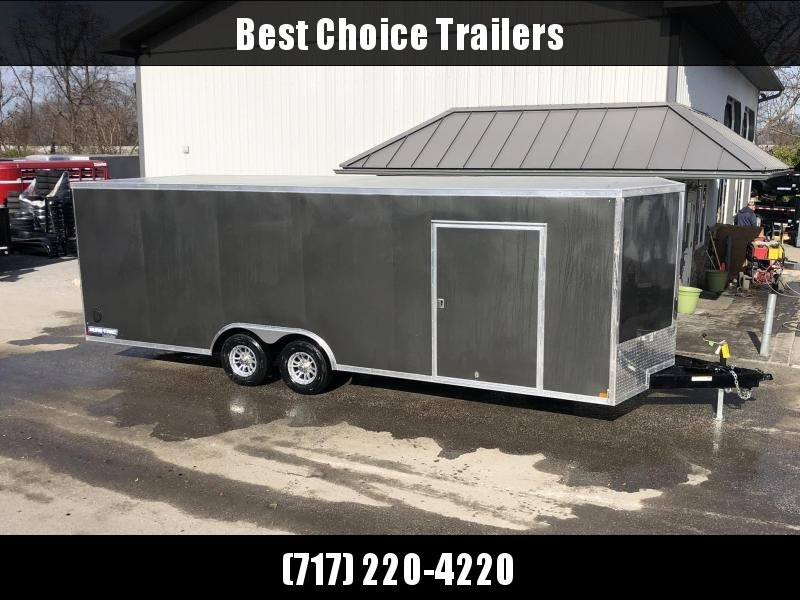 "2020 Sure-Trac 8.5x24' Deluxe Pro Series Enclosed Car Hauler Trailer 9900# GVW * CHARCOAL EXTERIOR * V-NOSE * RAMP * 5200# TORSION AXLES * NUDO FLOOR & RAMP * VINYL WALLS * ESCAPE HATCH * .030 SCREWLESS EXTERIOR * ALUMINUM WHEELS * 1 PC ROOF * 48"" RV DOOR"