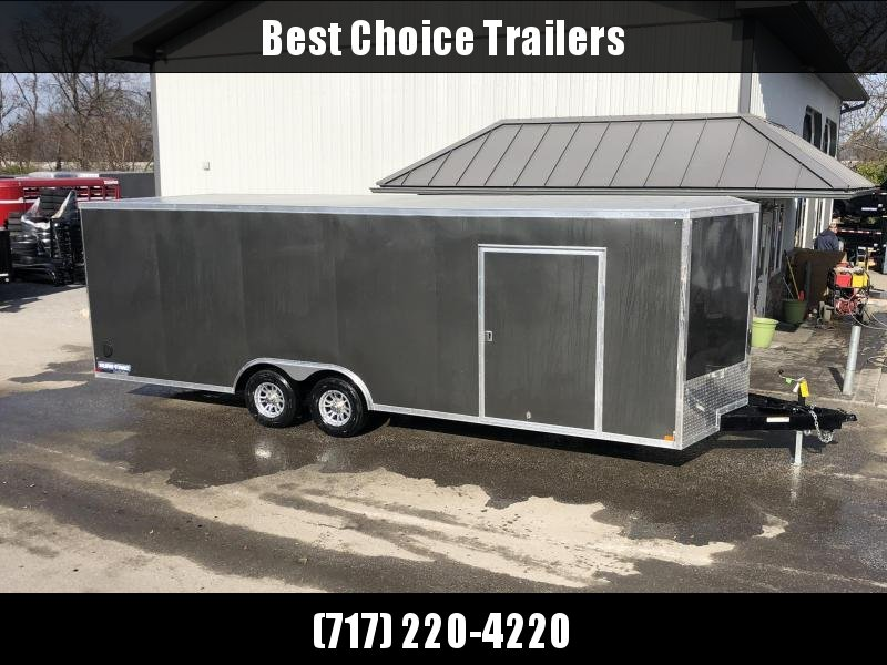 "2020 Sure-Trac 8.5x24' Enclosed Car Trailer 9900# GVW * DELUXE * CHARCOAL * 7K JACK * ESCAPE HATCH * FINISHED WALLS * NUDO FLOOR & RAMP * TORSION * 48"" DOOR & MORE"