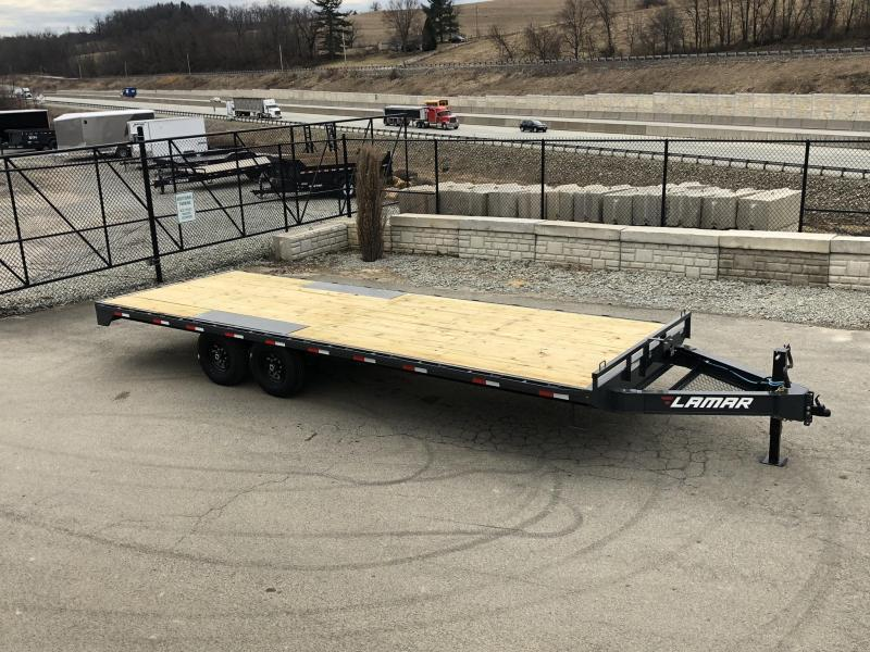 "2020 Lamar 102x22' Flatbed Deckover Trailer 14000# GVW * 8' SLIDE IN RAMPS * BLACK * TOOL TRAY * HD CAST COUPLER * I-BEAM FRAME * 16"" O.C. C/M * RUBRAIL/STAKE POCKETS/PIPE SPOOLS * CHANNEL SIDE RAIL * 12K JACK"