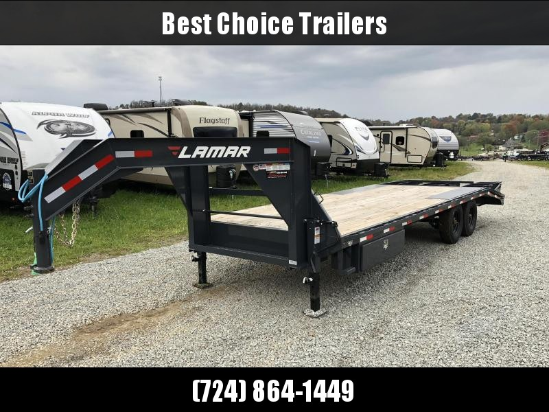 NEW Lamar 102x19+5' Gooseneck Beavertail Deckover Trailer 16000# GVW * 8000# AXLE UPGRADE * CHARCOAL POWDERCOAT * SIDE TOOLBOX * 3 FLIPOVER RAMPS * CLEARANCE