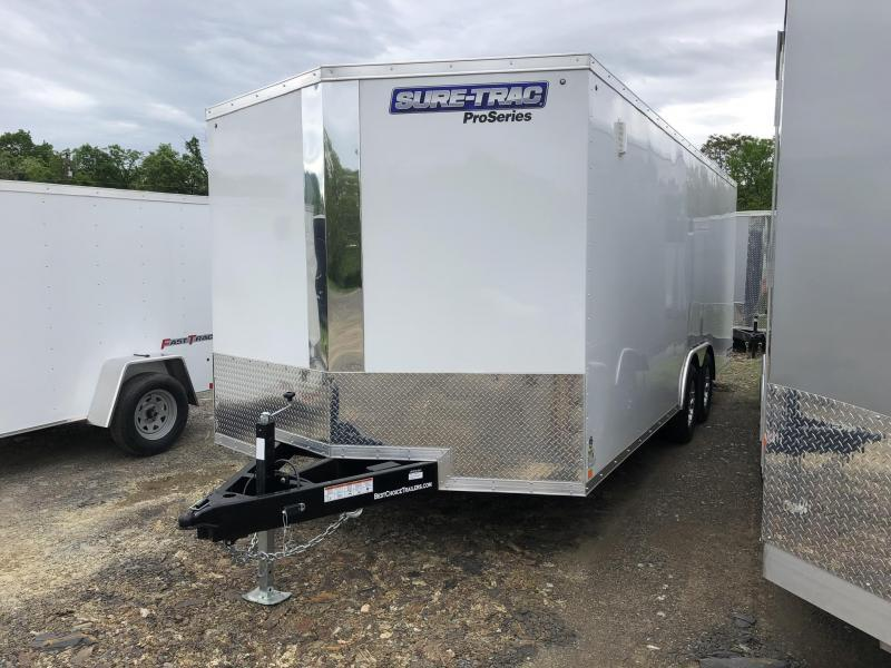2019 Sure-Trac 8.5x20' Enclosed Car Trailer 9900# GVW * WHITE * HO DOME LIGHT