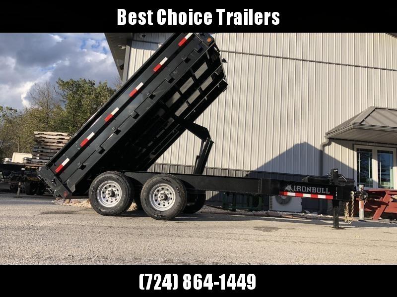 """2019 Ironbull 8x12' Deckover Dump Trailer 14000# GVW * TARP KIT * 10"""" I-BEAM FRAME * BED RUNNERS * FOLD DOWN SIDES * OVERSIZE 5x20 SCISSOR * 12K JACK"""