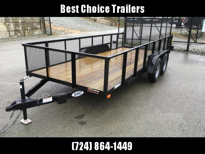 "2019 AMO 76""x16' Mesh High Side Angle Iron Utility Landscape Trailer 7000# GVW"