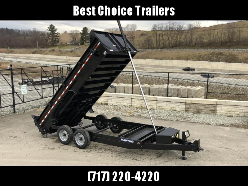 """2020 Sure-Trac 7x16' Dump Trailer 16000# GVW * 8000# AXLE UPGRADE * 17.5"""" 16-PLY TIRES * OVERSIZE 120"""" TELESCOPIC HOIST * 8"""" TONGUE/6"""" HEAVY WALL FRAME * 3 3/8"""" BRAKES * EXTENDED TONGUE * OVERSIZE TOOLBOX * FRONT/REAR BULKHEAD * 12K JACK * REINFORCED COUP"""