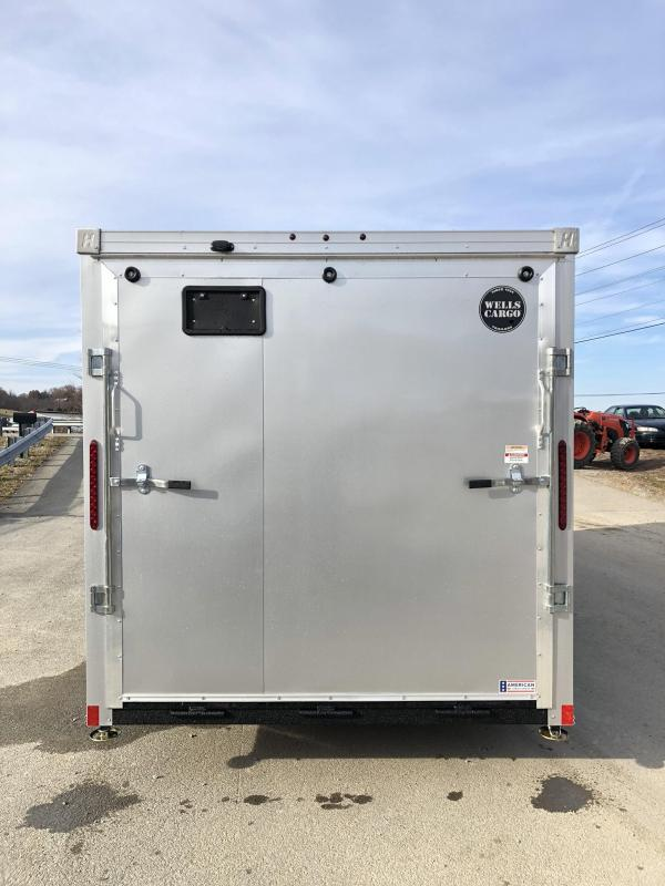"""2019 Wells Cargo 7x16' Road Force Enclosed Motorcycle Trailer 7000# GVW * SILVER/BLACK * RAMP DOOR * V-NOSE * .030 * 1 PC ALUM ROOF * 6'6"""" HEIGHT * TUBE STUDS * SCREWLESS * ARMOR GUARD * MOTORCYCLE PACKAGE"""
