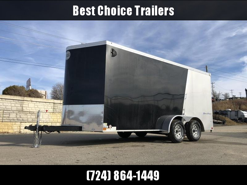 "2019 Wells Cargo 7x16' Road Force Enclosed Motorcycle Trailer 7000# GVW * SILVER/BLACK * RAMP DOOR * V-NOSE * .030 * 1 PC ALUM ROOF * 6'6"" HEIGHT * TUBE STUDS * SCREWLESS * ARMOR GUARD * MOTORCYCLE PACKAGE"